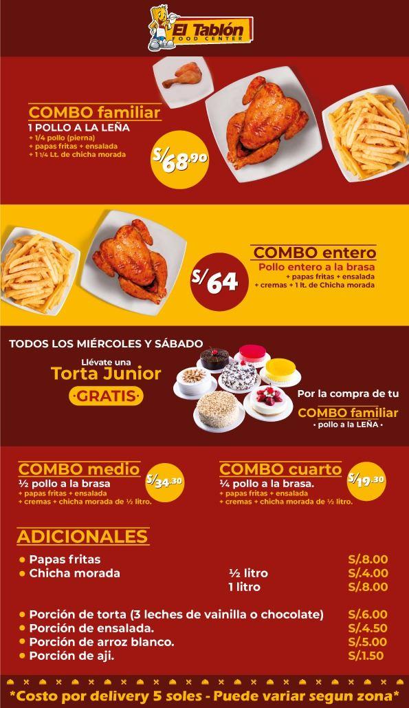 Carta de El Tablon Food Center Cusco