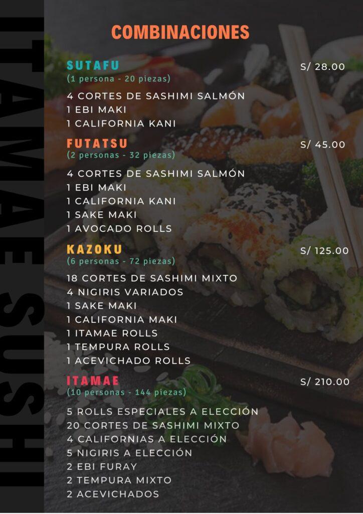 Itame Sushi Bar Carta